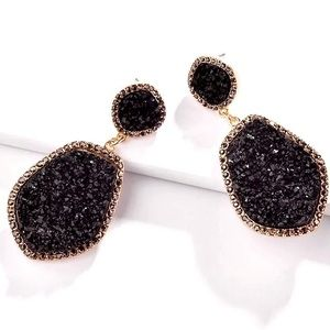 New Anthropologie Black Druzy Drop Earrings
